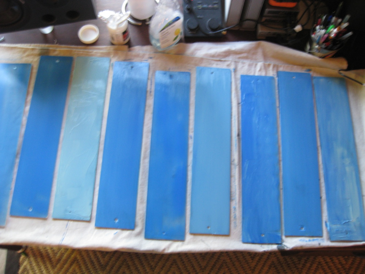 Art Project Using Old Glass Jalousie Window Slats To